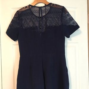 Midnight Blue Romper with Lace Detail